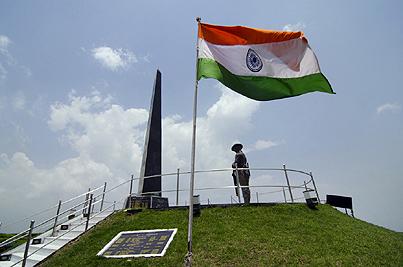 Indian National Flag at Gorkha War Memorial ,  Batasia Loop ,  Darjeeling  ,   West Bengal ,  India