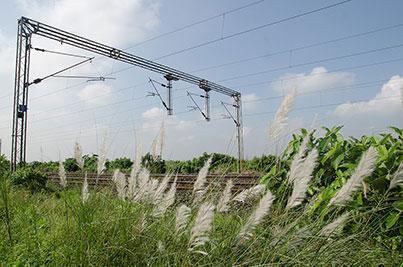 Indian Railways electrified track  ,   near Kolkata  ,   West Bengal