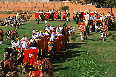 The march of elephants at Chaugan Stadium during the Elephant Festival  ,   Jaipur  ,   Rajasthan  ,   India