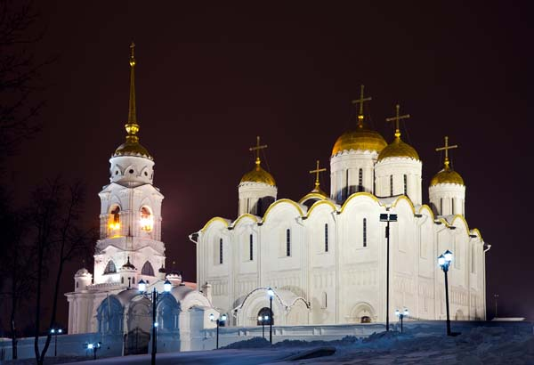 Assumption cathedral at Vladimir in winter night (Russia)