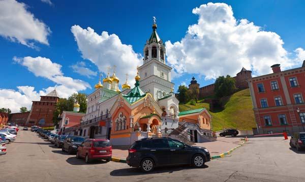 Wide angle shot of Church of the Nativity John the Baptist at Nizhny Novgorod in summer sunny day. Russia