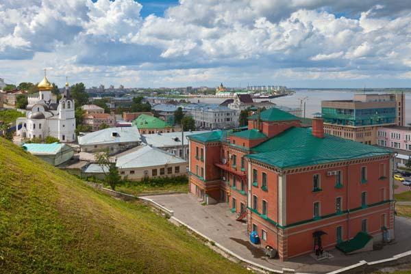 historic district of Nizhny Novgorod and Volga river in summer sunny day. Russia