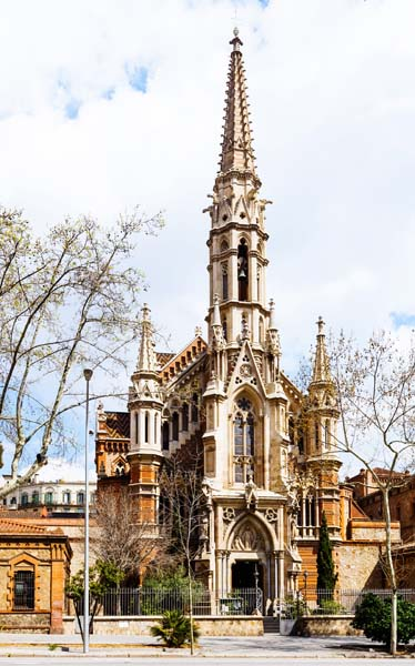 View of Barcelona, Spain. Church of the Salesians