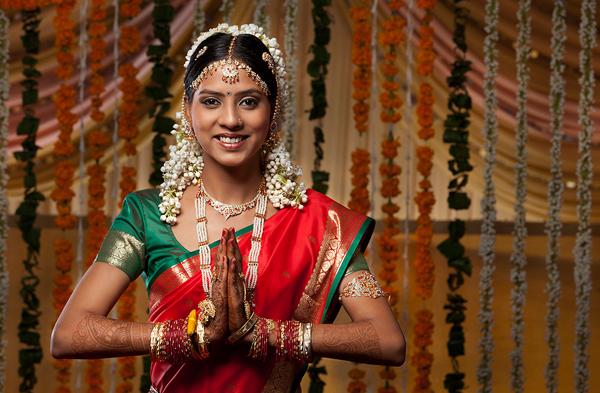 Indian woman greeting Namaste